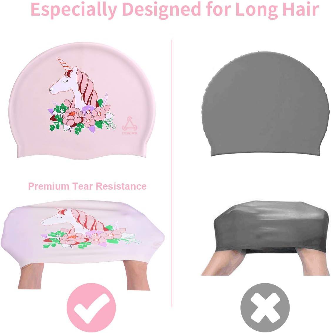 Swimming Cap 3D Ergonomic Design Comfortable Durable Ear Protection for Women Kids Men Adults Boys Girls for Long or Short Hair with Unicorn Design FUNOWN Swim Caps for Women