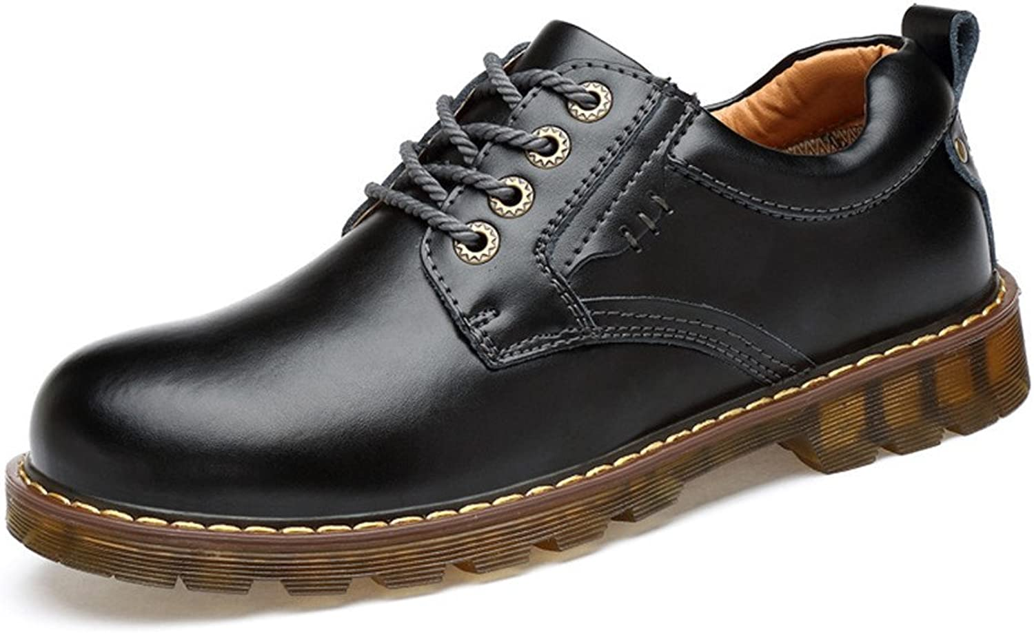 Fgmjgk Men's casual shoes casual shoes leather casual shoes all-match,black,Thirty-eight