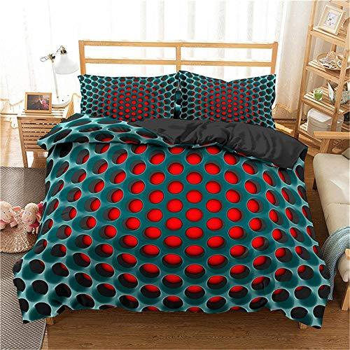 QDoodePoyer Bettwäsche-Set 260x220cm 80x80cm Abstrakt rot geometrisch KreiseBettwäsche für Teenager & Jugend · 2 teilig · Wendemotiv · 2 Kissenbezug 80x80 + 1 Bettbezug 260x220cm