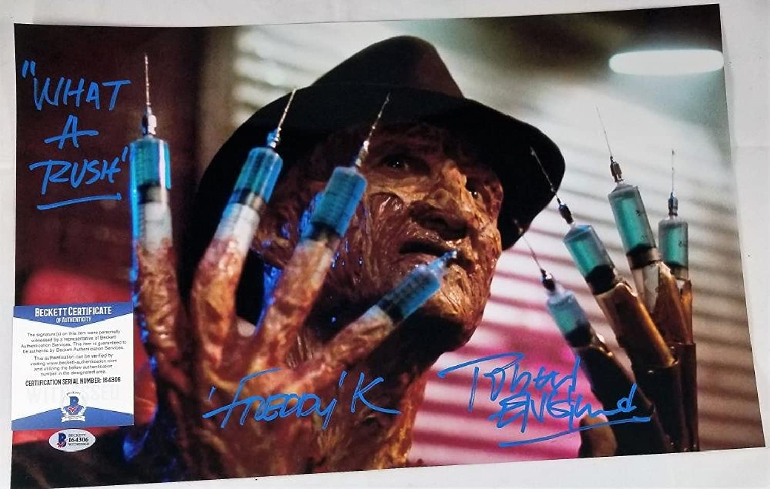 ROBERT ENGLUND FREDDY KRUEGER SIGNED METALLIC 11x17 PHOTO BAS COA 306