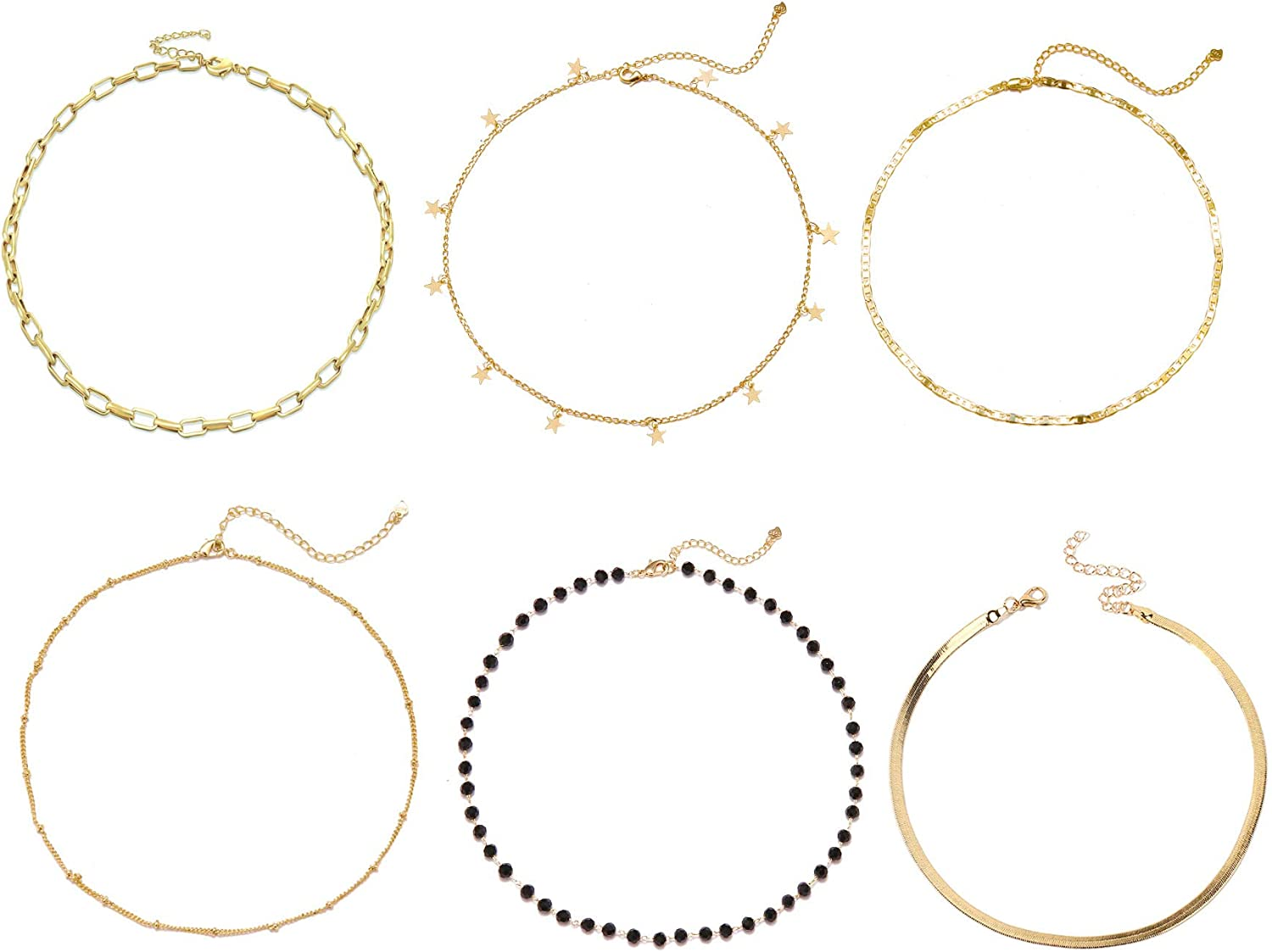 6Pcs Gold Choker Necklace Set for Women Paperclip Chain necklace Star Bead Circle Cuban Choker Jewerly for Girl
