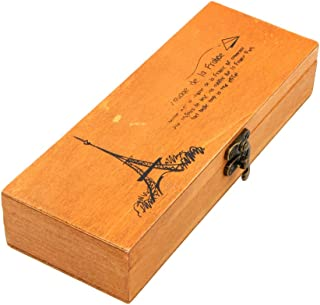 Wood Pencil Pen Box, Eiffel Tower Wooden Art Drawers Brush Storage Boxes With Locking Clasp, Artist Tool Small Lock Case, Decorations Craft Trinket Container Organizer, Card Collection, Jewelry Holder