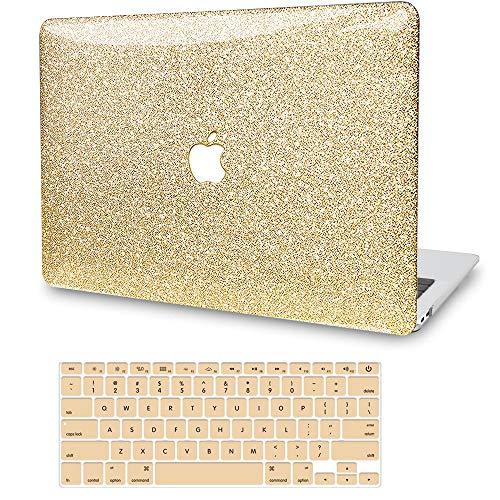 """Coque pour MacBook Air 13"""" 2020 2019 2018 version A2337 M1 A2179 A1932 G JGOO MacBook Air 2020 Coque rigide à paillettes + couverture de clavier pour Apple Mac Air 13.3 avec écran Retina & Touch ID, or"""