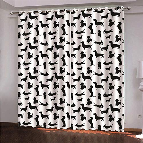 Ojales Cortinas 140 x 300 cm Perro Animal Negro Opacas Reduccion Ruido Aislantes Cortinas Cortina de poliéster de impresión 3D para Dormitorio Infantil 2 Pieza