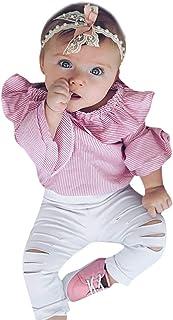 PPangUDing Babykleidung Neugeborene Baby Mädchen Bekleidung Set Mode Gestreifte Trompetenärmel Rüschen Strampler Tops  Loch Denim Hosen Zweiteiliger Kinderbekleidung