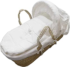 Moses Basket White Teddy Pocket Piece Dressing for Moses Wicker Baskets Including Coverlet  Hood  Padding  Fitted Sheet  amp  Liner Dressing  Moses Basket Not Included