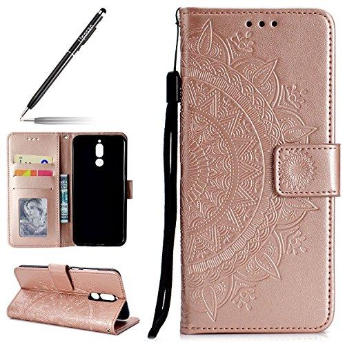 Uposao Kompatibel mit Huawei Mate 10 Lite Handytasche Klappbar Flip Case Prägung Blumen Tasche Leder Brieftasche Lederhülle Leder Handy Schutzhülle Cover mit Magnetverschluss,Rose Gold