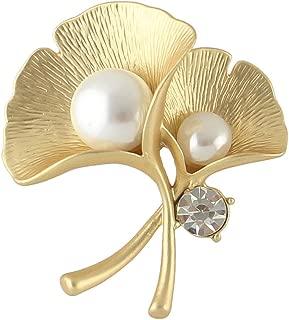 Feelnear Elegant Women Accessories Rhinestone Simulated Pearl Silver Yellow Gold Ginkgo Leaf Brooch Wedding Party
