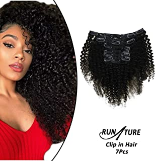 RUNATURE Afro Curly Clip in Hair Extensions Real Human Hair Natural Black Color 20 inch Clip in Curly Hair Extensions Human Hair 7Pcs 100gram Clips In Extensions