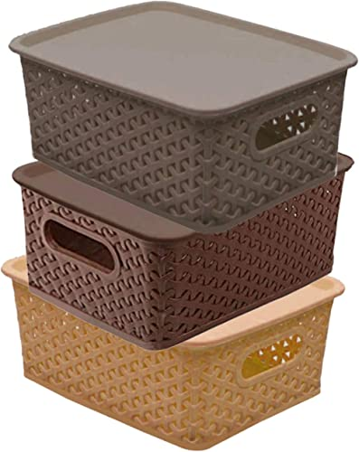 Kuber Industries Plastic 3 Pieces Small Size Multipurpose Solitaire Storage Basket with Lid (Multi)(Size:25x19x10.5cm...