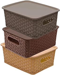 Kuber Industries Plastic 3 Pieces Small Size Multipurpose Solitaire Storage Basket with Lid (Multi)(Size:25x19x10.5cm)-CTL...