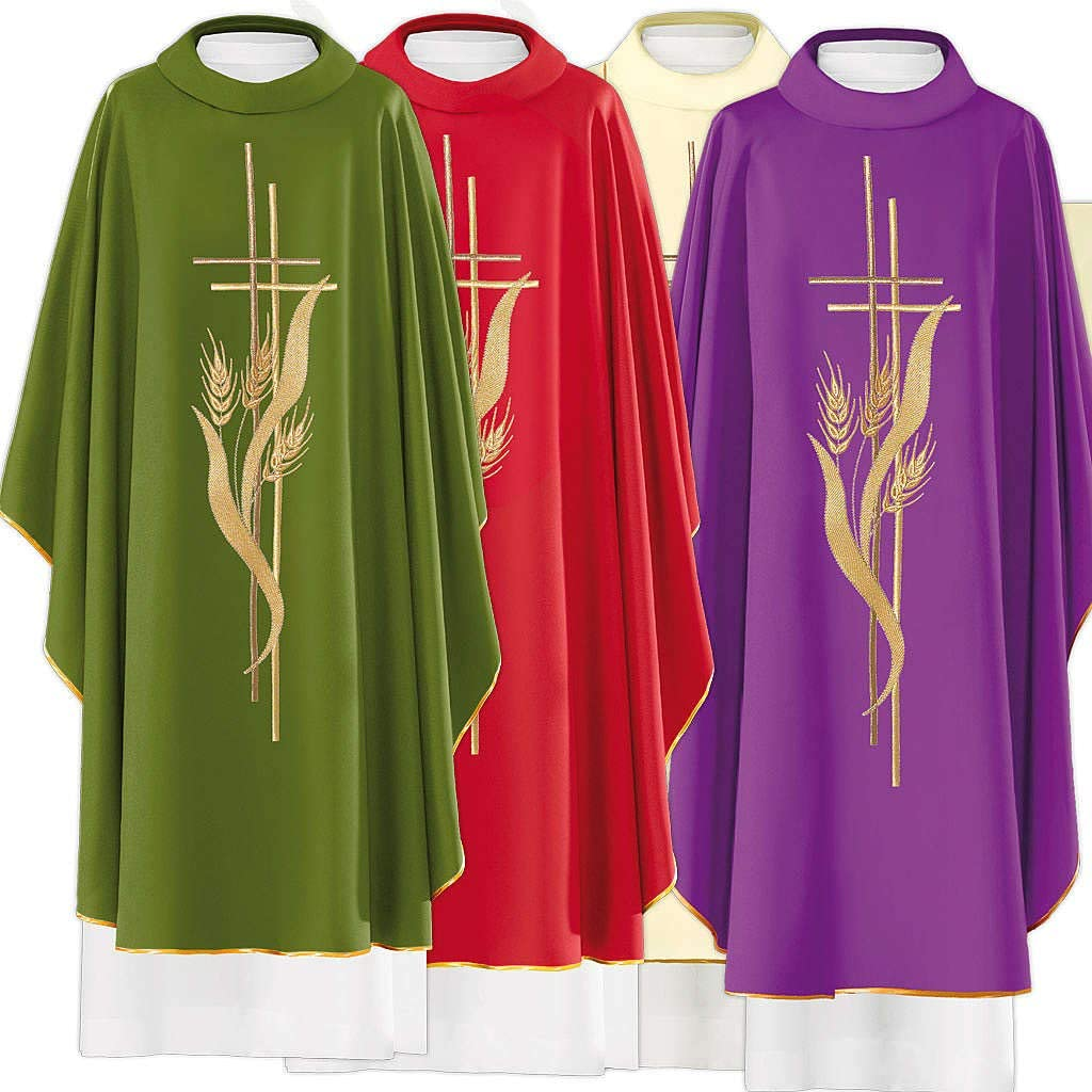 Quality inspection Chasuble in 80% online shopping Polyester 20% Wool and Gre of Cross Ears Wheat