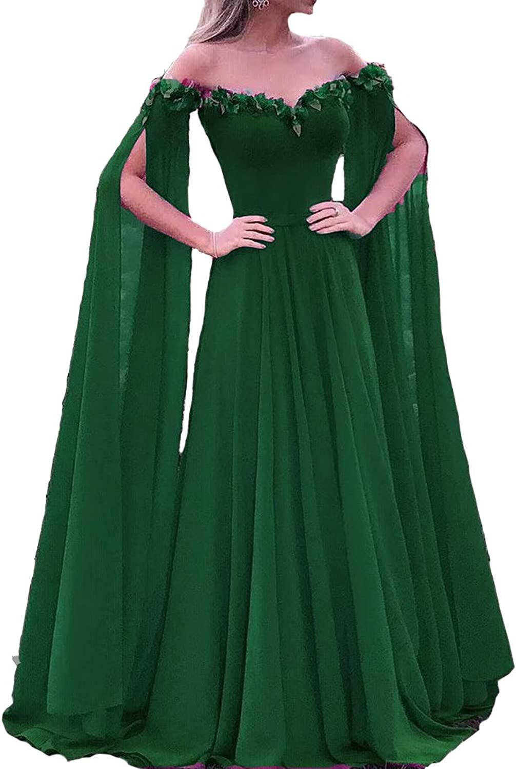 Lemai Floral Off The Shoulder Goddess Long Sleeves Cape Prom Evening Dresses