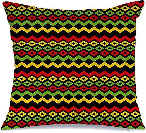 Funda de cojín Throw Cojín Caso Funda de Almohada Diseño de reggae de estilo clásico Color rojo Fondo de música retro Texturas de Jamaica Banner Chevron Grunge 45 X 45 CM