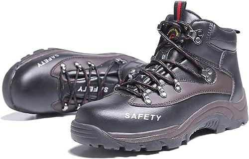 YXWa botas para hombres Calzaño de Seguridad botas de Seguridad para Hombre Calzaño de Acero Calzaño de Trabaño Tobillo de Cuero Projoección de la Entresuela de Acero (Color   B, Tamaño   38)