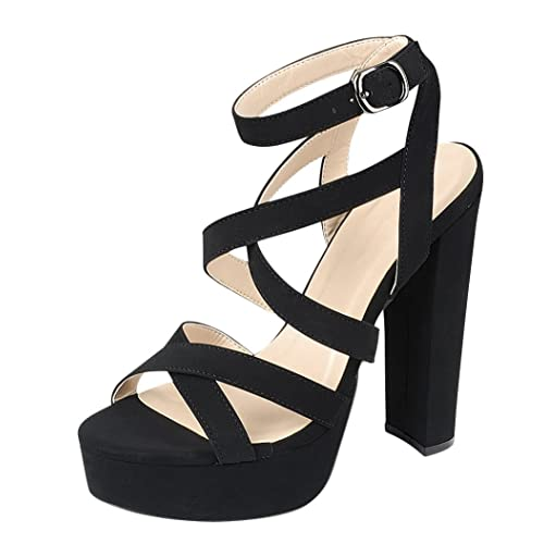fc351b908fe Cambridge Select Women s Crisscross Ankle Strappy Peep Toe Platform Chunky  Wrapped High Heel Dress Sandal