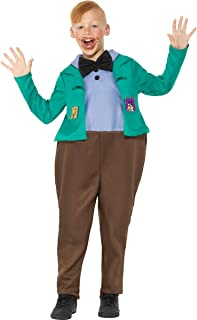 Smiffys 41544L Officially Licensed Roald Dahl Deluxe Augustus Gloop Costume Dress, Boys, Green, L - Age 10-12 years