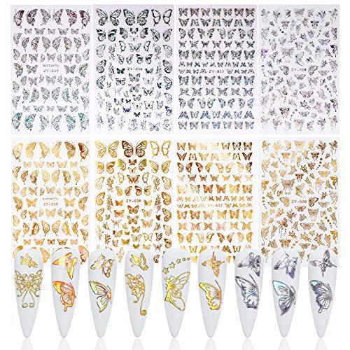 MWOOT 8 Blatt Schmetterling Nagelaufkleber Abziehbilder,3D Metallisch Butterfly Holographisch Nail Art Stickers Set, Selbstklebend Nail Art Tattoo Aufkleber