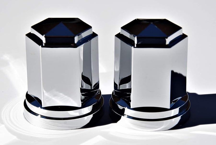 マトン周術期性差別【ナットキャップ2ヶ入 トラック用】8穴用の数合わせや補修用に?乱反射してキラキラ光る人気の角型ABS樹脂製クロームメッキ ISO 33mm高さ60mm(397)