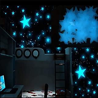 100PC Kids Bedroom Fluorescent Glow in The Dark Stars Glow Wall Stickers Stars Luminous Luminous Glow 8.13 Blue