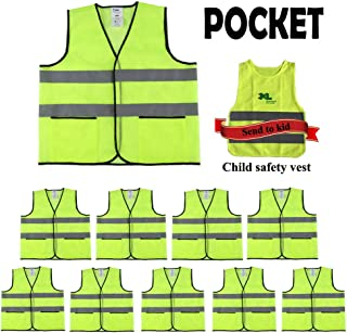 CIMC,Yellow Reflective Safety Vest with Pockets,10 Pack,Bright Construction Vest with Reflective Strip,Made from Breathable Neon Yellow Mesh Fabric,High Visibility Vest for Woman and Men (neon yellow)