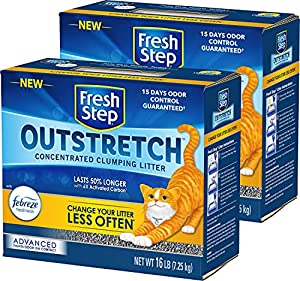 Fresh Step Outstretch Advanced Concentrated Clumping Litter with Febreze Freshness, Lasts 50 % Longer, Activated Carbon, 32 Pounds Total (2 Pack of 16 lb Boxes)