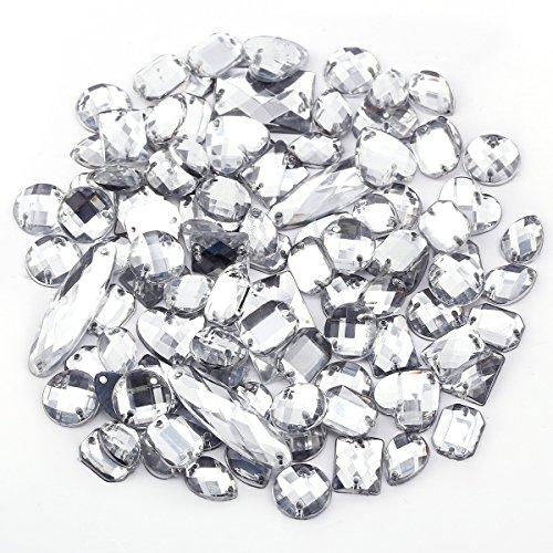 100xGlitzersteine Schmucksteine Acrylsteine Strasssteine Bastelsteine zum aufnähen nähen Aufnähsteine Kleidung Tasche Deko (Klar)
