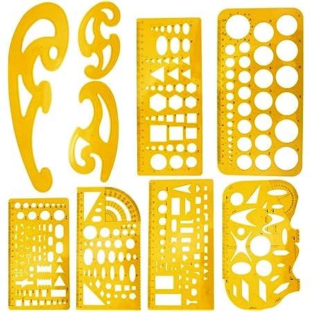 ZCHD 4 Pezzi Numero Righello Stencil Hollow Segnalibro di Disegno Numero Modello di Disegno Righello