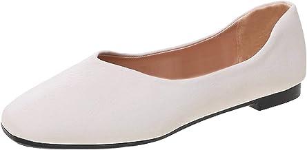 90sMuse Women's Loafer Slip-On Flat Slide Sandals Leather Resistant Single Ballet Comfort Leather Arch Support