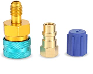 R1234YF to R134A Adapter, Low Side Quick Coupler Conversion Kit, R12 to R134A AC Charging Hose Adapter Fitting Connector Refrigerant Can Adapter Valve for R1234YF/R12 to R134A Car Air-Conditioning