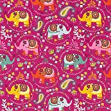 RosaliNum 0,5m Jersey indische Elefanten pink 95% Baumwolle