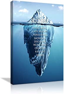 AMEMNY Modern Inspirational Wall Art Iceberg Success Hard Work Motivational Canvas Painting Print Poster Artwork Home Decor for Living Room Bedroom Office Framed Ready to Hang