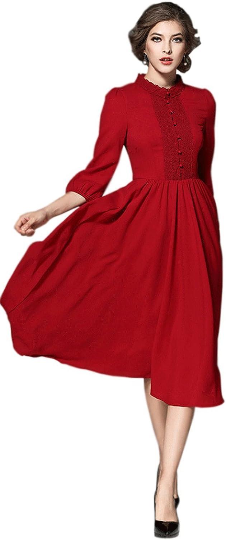 Zumeet Women Fit Top Pleated Waist Maxi Style Dress Red