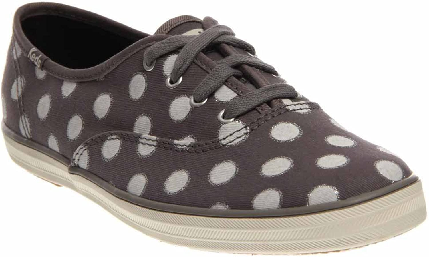 Keds Women's Champion Glitter Dot Grey Canvas Glitter Sneaker 8 B (M)