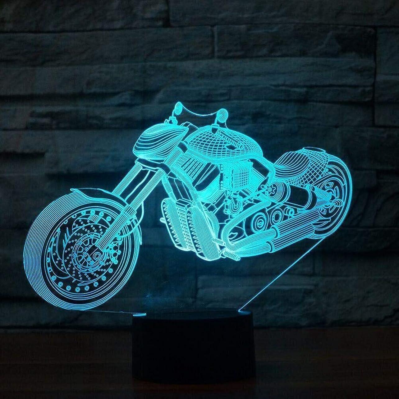 発掘する交じる処分した3DイリュージョンクロスカントリーのオートバイLEDランプタッチセンサーマルチカラーRGBベッドルームベッドサイドアクリル装飾的なデスクランプキッズフェスティバル誕生日プレゼントのUSB充電
