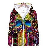 JSDLXD Schädel 3D-Druck Hoodie Jacke Cosplay Kostüm Zip Hoody Sweat Jacke Outwear Mantel Sweatshirt Baseball-EIN_XS