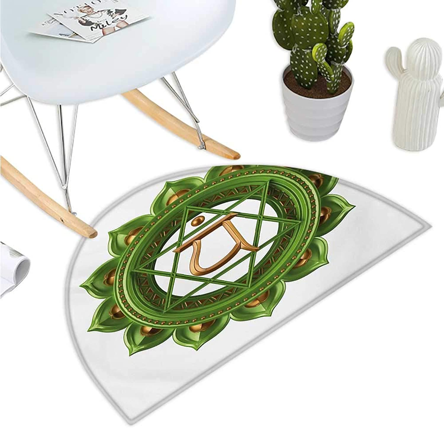 Chakra Semicircular Cushion Circular Oriental Style Earth Core Form Ancient Balance and Harmony in Cosmos Theme Halfmoon doormats H 43.3  xD 64.9  Green gold
