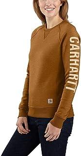 Women's Relaxed Fit Midweight Crewneck Block Logo Sleeve Graphic Sweatshirt