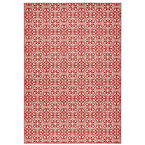 Bavaria Home Style Collection Designer Teppich Wohnzimmer Teppiche Fliesen Ornament Muster Look Stil Design Koralle Rot Creme Braun Beige 160 x 230 cm