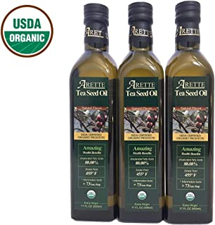 Arette Organic Tea Seed Oil, Natural, 3 Count