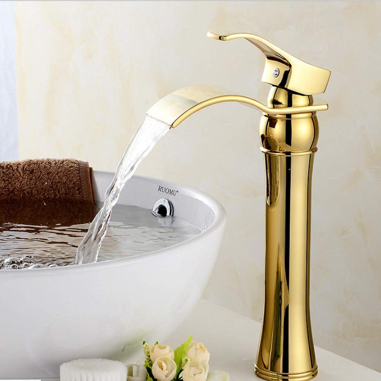 Lddpl Tap Waterfall gold Faucet Single Handle Antique Kitchen Basin Mixer Taps Single Hole Sink Faucet