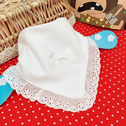 Vanker nouveau-né enfant bébé fille en dentelle de coton Nœud pour Dribble Bavoir Blanc fait à la main.