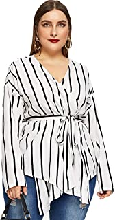 Romwe Women's Plus Elegant Stripe Print Long Sleeve Belt Work Peplum Wrap Blouse Top