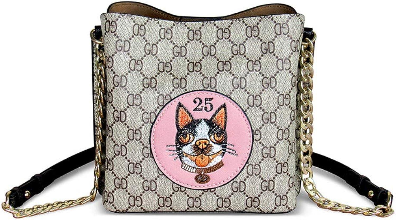 Shoulder Bag,Women Fashion Vintage Printing Crossbody Cute Dog Embroidery Classic Leisure Simple Bucket Bag Messenger Bags