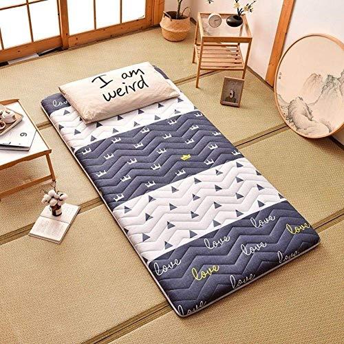 Colchón de futón grueso, doble individual, tatami, tapete para el piso, cálido, enrollable, para dormitorio, colchón, colchón japonés, plegable, para dormir, para niños, cama, tumbona, D 100x190cm (