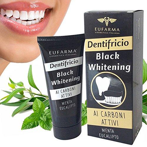 Bakaji Dentifricio Carbone Attivo Sbiancante Nero Sbiancamento Naturale Denti Tubettotto da 100ml Carboni Attivi Black