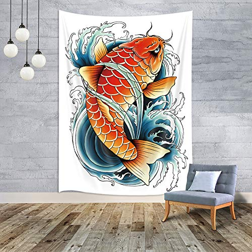 MERCHR Lunarable Koi Fish Tapestry, Tattoo Styled Drawing Tapestry Japan Anime, Small Tapestry Japan Decor Wall Hanging for Bedroom Living Room Dorm 40' X 60' Petrol Blue