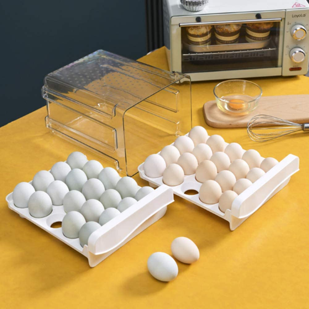 2-Tier Egg Holder for Refrigerator 40 Grid Drawer Type Egg Storage Box Egg Storage Container Plastic Clear Refrigerator Egg Trays for Kitchen
