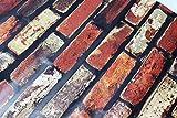 Papel pintado 3D, diseño de ladrillos, papel pintado texturizado de ladrillo rojo vintage, papel de impresión autoadhesivo resistente al agua para pared decorativo