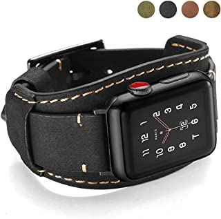Coobes Compatible with Apple Watch Band 44mm 42mm Men Women Genuine Leather Compatible iWatch Bracelet Wristband Strap Compatible Apple Watch Series 5/4/3/2/1 (Crazy Horse Cuff Black, 44/42 mm)